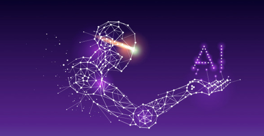 A bold purple crossover between a star constellation and AI computer system.