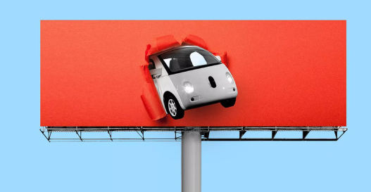 A euro car smashing through a billboard, monochromatic.
