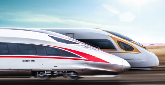 Two high speed bullet trains. Yellow stripe and red stripe. One has a greater slope. They just look fast.