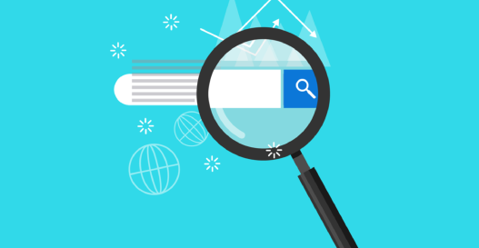 Graphic of a magnifying glass over a search bar with a blue background.