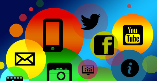 Bright colors showing Twiter, Youtube, Facebook, Mobile, Videos, E-mail and charts.